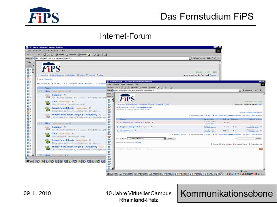 09.11.2010 10 Jahre Virtueller Campus Rheinland-Pfalz Das Fernstudium FiPS Internet-Forum Kommunikationsebene