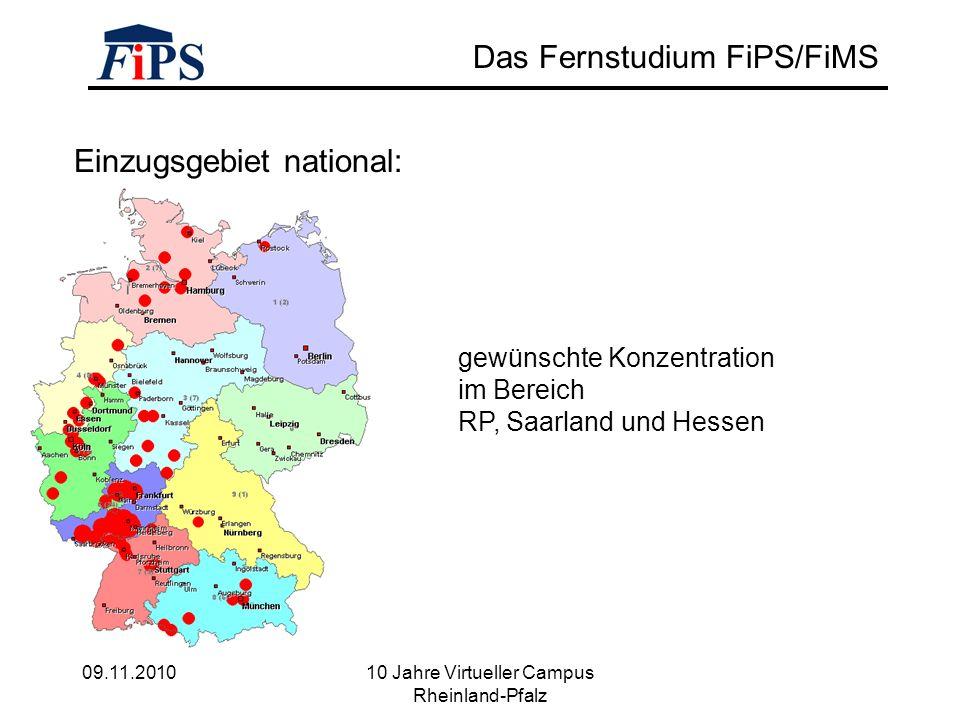 09.11.2010 10 Jahre Virtueller Campus Rheinland-Pfalz Das Fernstudium FiPS/FiMS Einzugsgebiet national: gewünschte Konzentration im Bereich RP, Saarland und Hessen