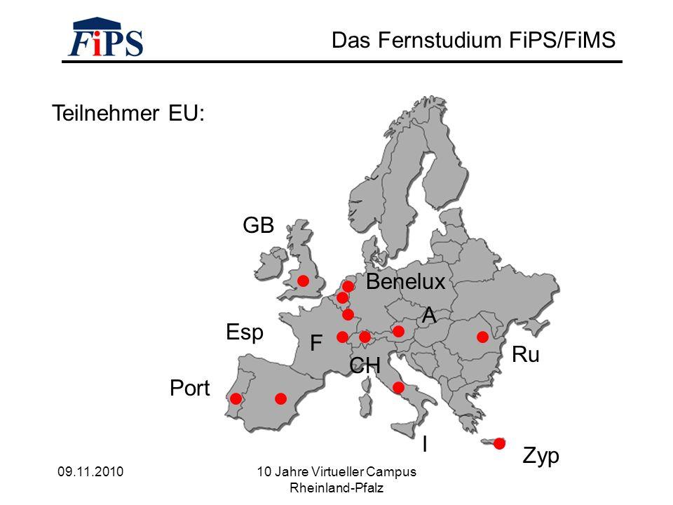 09.11.2010 10 Jahre Virtueller Campus Rheinland-Pfalz Das Fernstudium FiPS/FiMS Teilnehmer EU: GB Ru Port Esp Zyp I A CH F Benelux