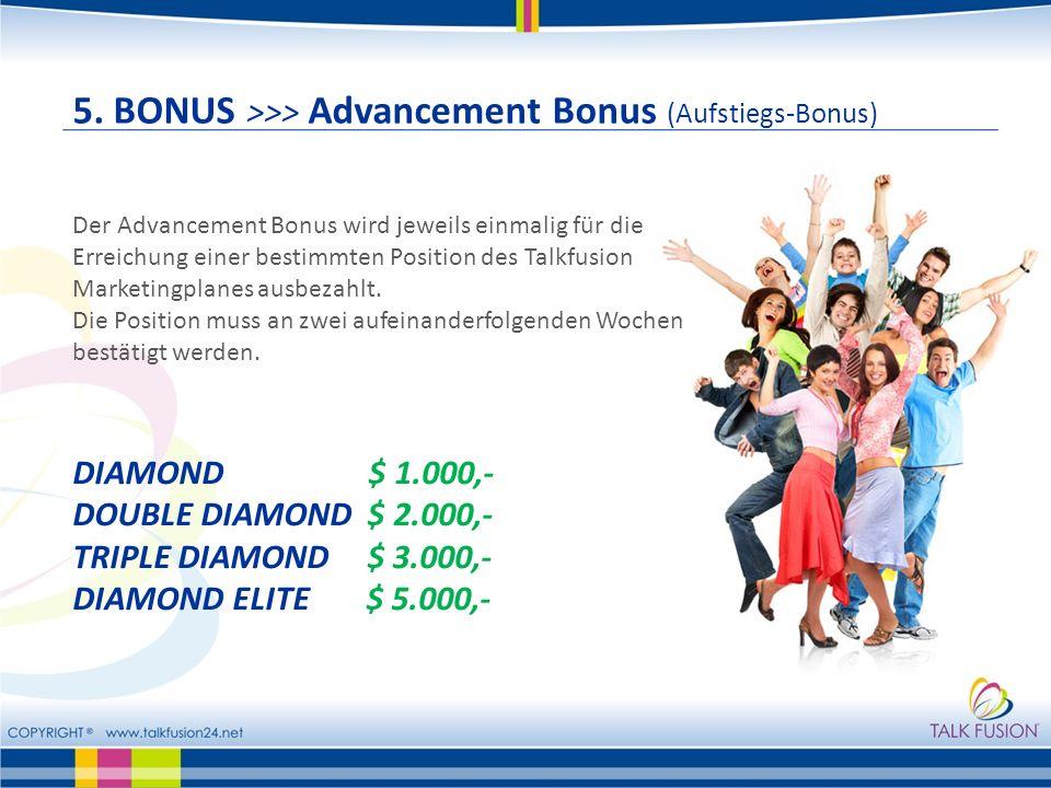 5. BONUS >>> Advancement Bonus (Aufstiegs-Bonus) Der Advancement Bonus wird jeweils einmalig für die Erreichung einer bestimmten Position des Talkfusi