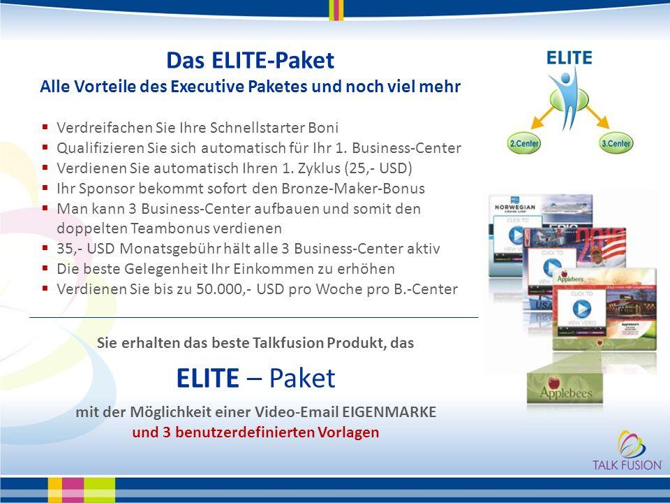Das ELITE-Paket Alle Vorteile des Executive Paketes und noch viel mehr Verdreifachen Sie Ihre Schnellstarter Boni Qualifizieren Sie sich automatisch für Ihr 1.