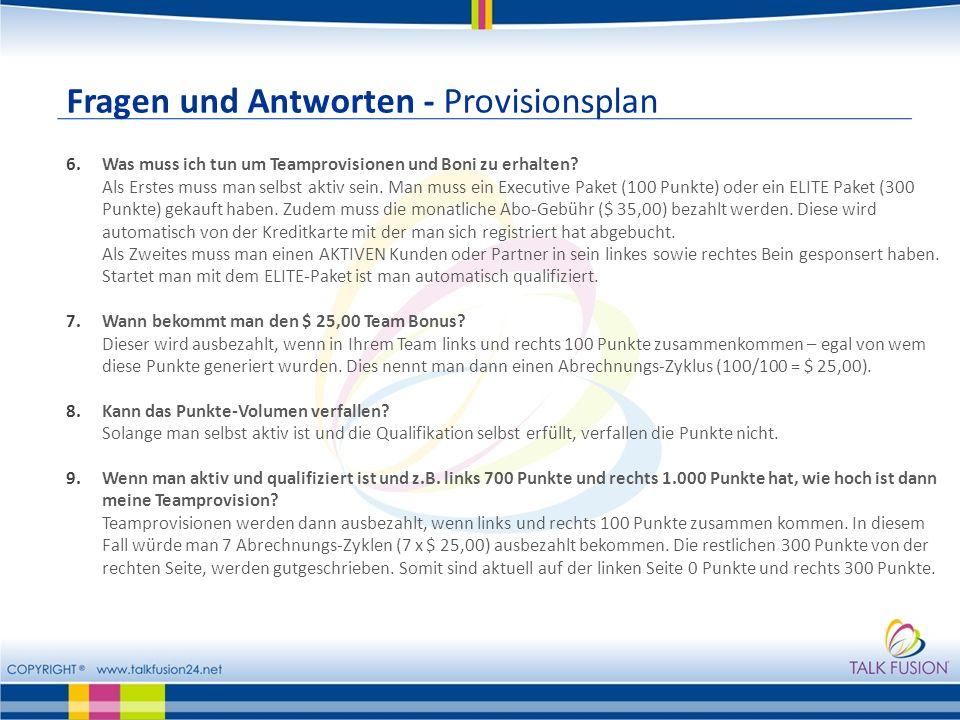Fragen und Antworten - Provisionsplan 6.Was muss ich tun um Teamprovisionen und Boni zu erhalten.