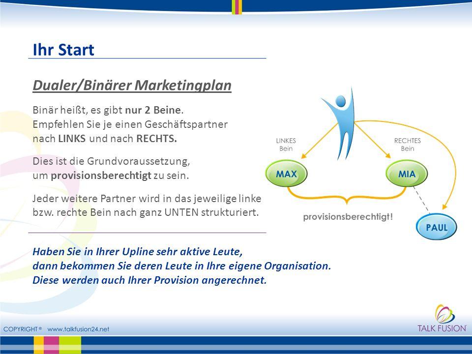 Ihr Start Dualer/Binärer Marketingplan Binär heißt, es gibt nur 2 Beine. Empfehlen Sie je einen Geschäftspartner nach LINKS und nach RECHTS. Dies ist