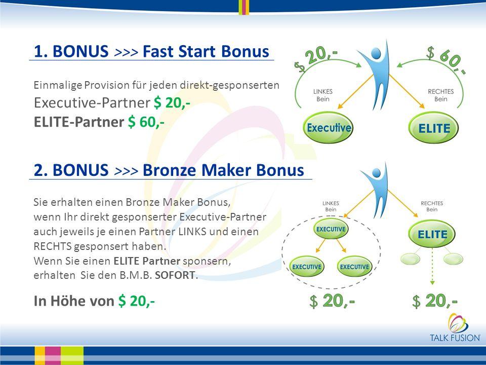 1. BONUS >>> Fast Start Bonus Einmalige Provision für jeden direkt-gesponserten Executive-Partner $ 20,- ELITE-Partner $ 60,- Sie erhalten einen Bronz