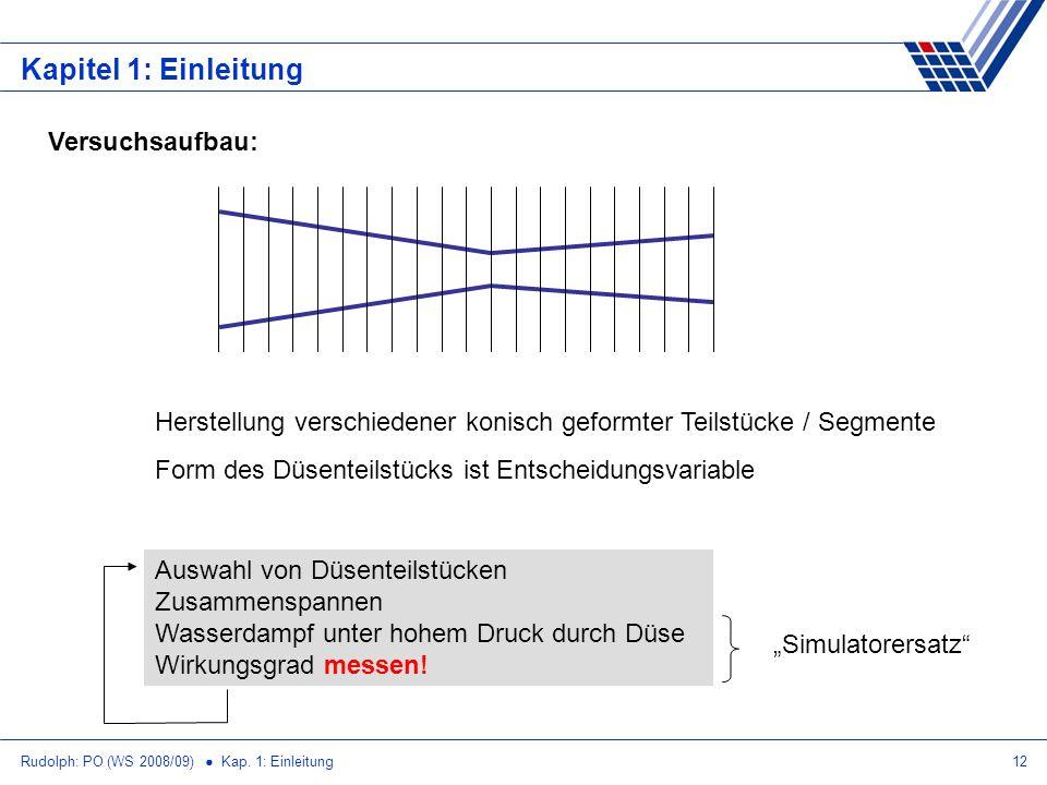 Rudolph: PO (WS 2008/09) Kap. 1: Einleitung12 Kapitel 1: Einleitung Versuchsaufbau: Herstellung verschiedener konisch geformter Teilstücke / Segmente