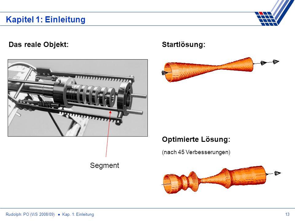 Rudolph: PO (WS 2008/09) Kap. 1: Einleitung13 Kapitel 1: Einleitung Startlösung: Optimierte Lösung: (nach 45 Verbesserungen) Das reale Objekt: Segment