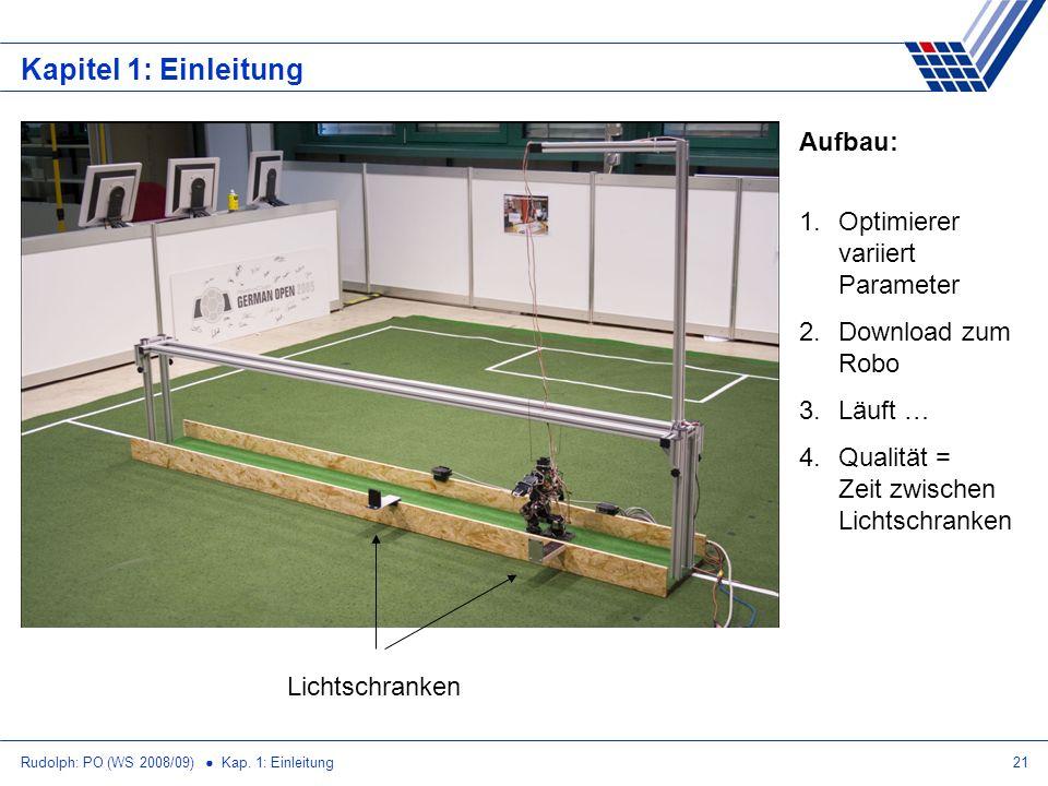 Rudolph: PO (WS 2008/09) Kap. 1: Einleitung21 Kapitel 1: Einleitung Lichtschranken 1.Optimierer variiert Parameter 2.Download zum Robo 3.Läuft … 4.Qua