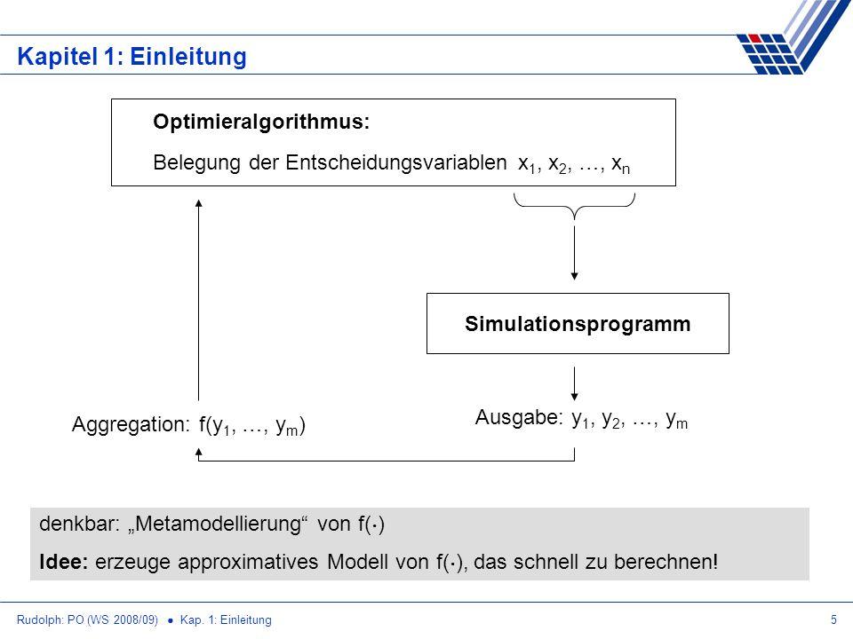 Rudolph: PO (WS 2008/09) Kap. 1: Einleitung5 Kapitel 1: Einleitung denkbar: Metamodellierung von f( ¢ ) Idee: erzeuge approximatives Modell von f( ¢ )