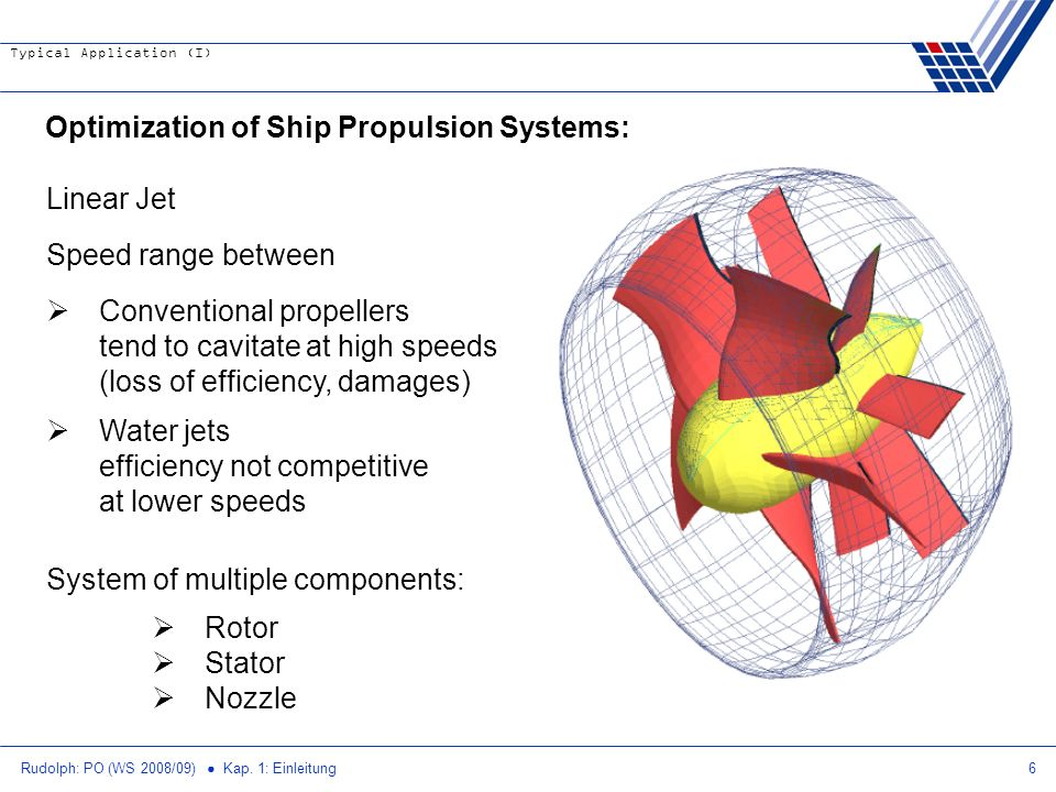 Rudolph: PO (WS 2008/09) Kap. 1: Einleitung6 Optimization of Ship Propulsion Systems: Linear Jet Speed range between Conventional propellers tend to c