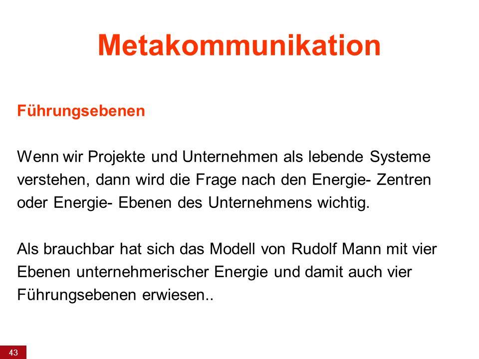 43 Metakommunikation Führungsebenen Wenn wir Projekte und Unternehmen als lebende Systeme verstehen, dann wird die Frage nach den Energie- Zentren ode