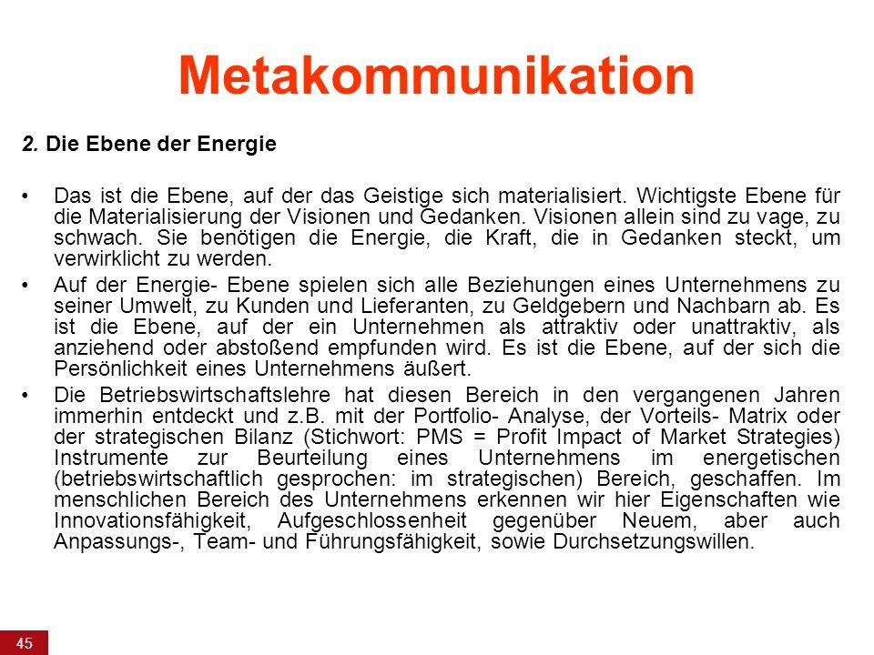 45 Metakommunikation 2. Die Ebene der Energie Das ist die Ebene, auf der das Geistige sich materialisiert. Wichtigste Ebene für die Materialisierung d