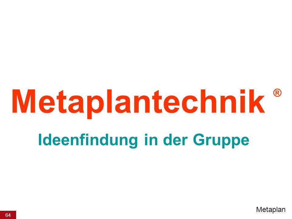 64 Metaplantechnik ® Ideenfindung in der Gruppe Metaplan