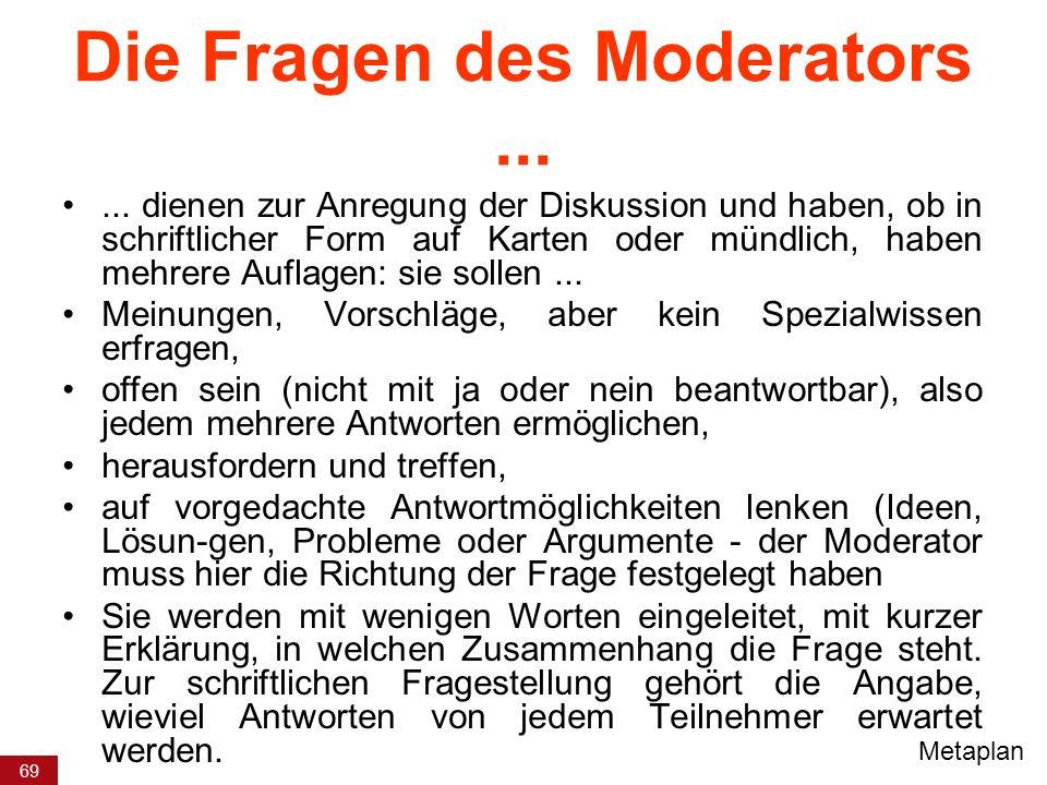 69 Die Fragen des Moderators...... dienen zur Anregung der Diskussion und haben, ob in schriftlicher Form auf Karten oder mündlich, haben mehrere Aufl