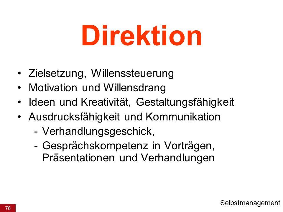 76 Direktion Zielsetzung, Willenssteuerung Motivation und Willensdrang Ideen und Kreativität, Gestaltungsfähigkeit Ausdrucksfähigkeit und Kommunikatio