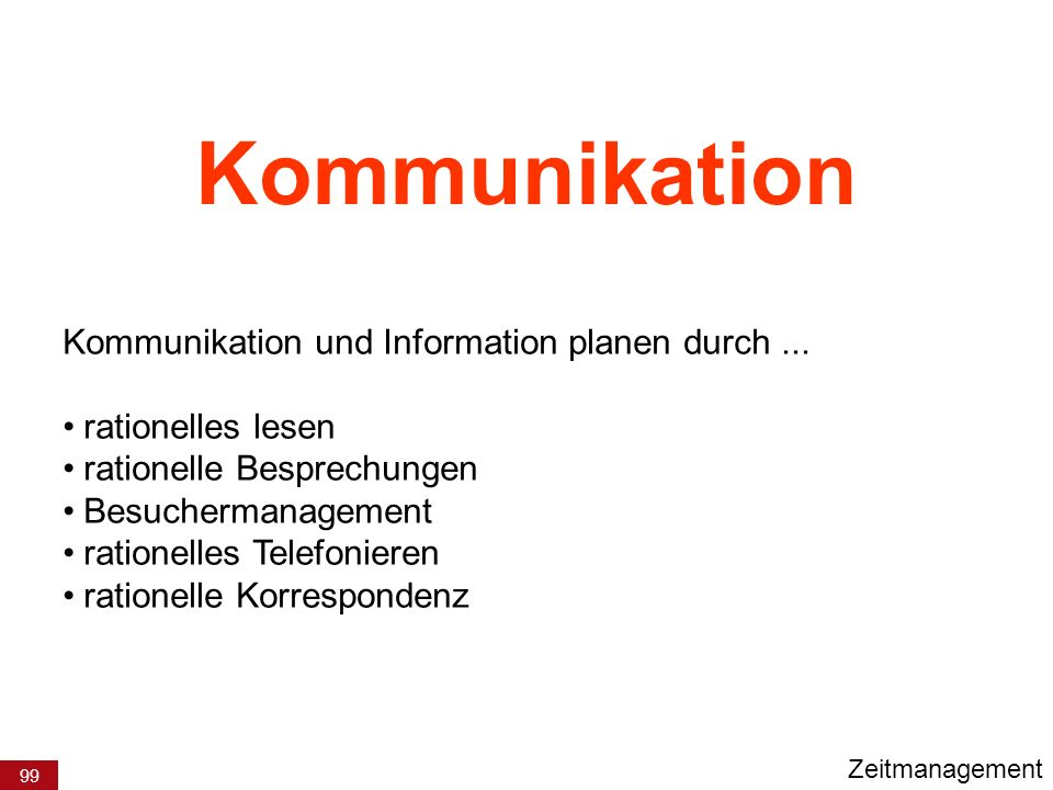 99 Kommunikation Kommunikation und Information planen durch... rationelles lesen rationelle Besprechungen Besuchermanagement rationelles Telefonieren