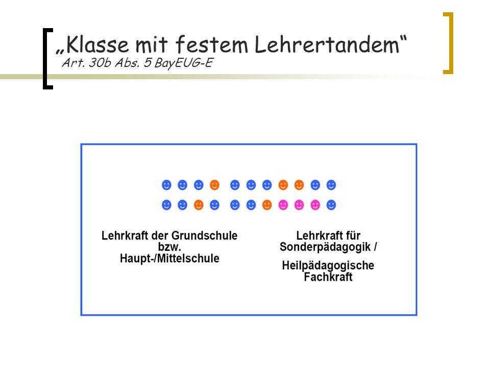 Klasse mit festem Lehrertandem Art. 30b Abs. 5 BayEUG-E
