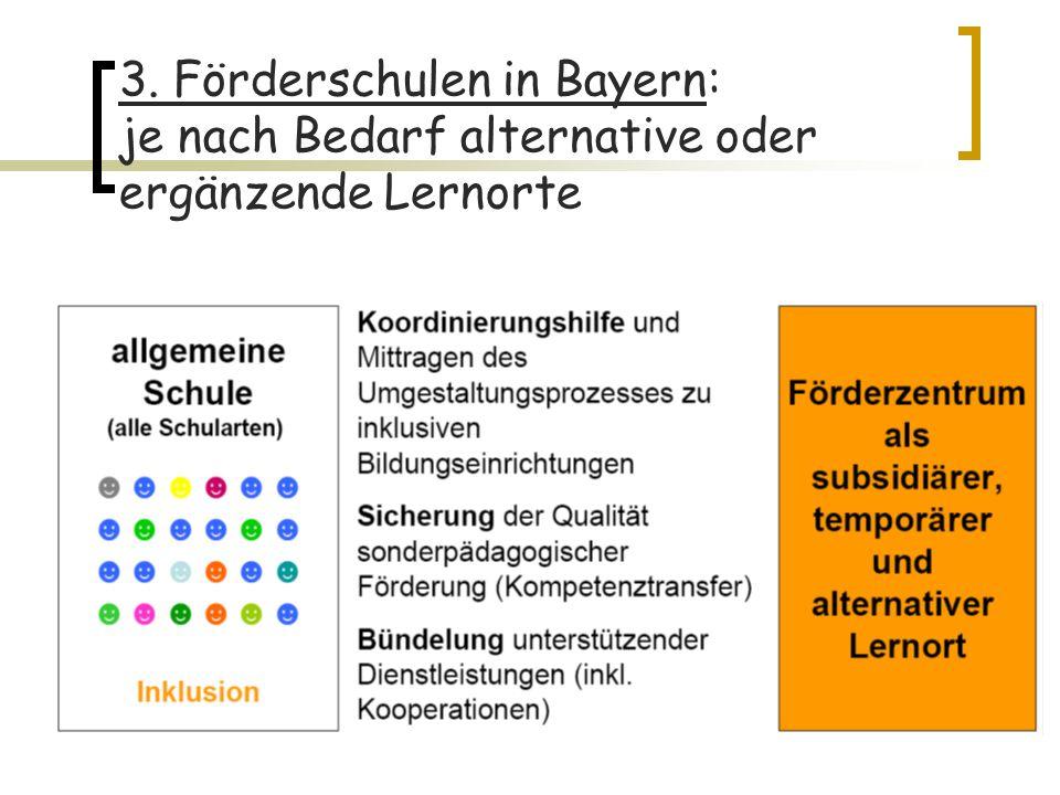 3. Förderschulen in Bayern: je nach Bedarf alternative oder ergänzende Lernorte
