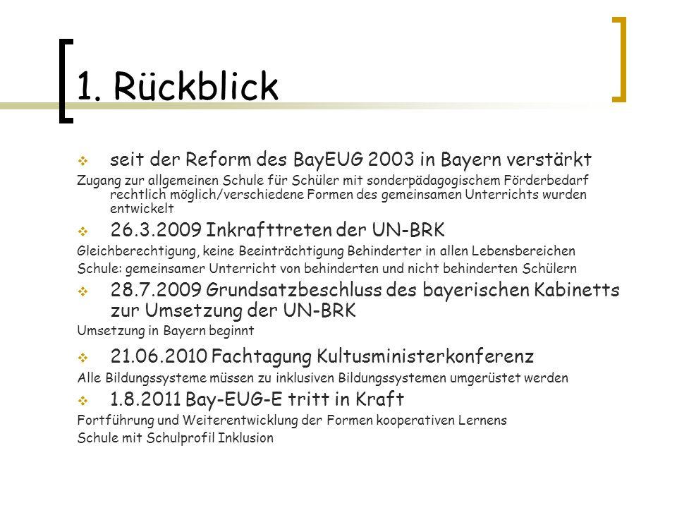 1. Rückblick seit der Reform des BayEUG 2003 in Bayern verstärkt Zugang zur allgemeinen Schule für Schüler mit sonderpädagogischem Förderbedarf rechtl
