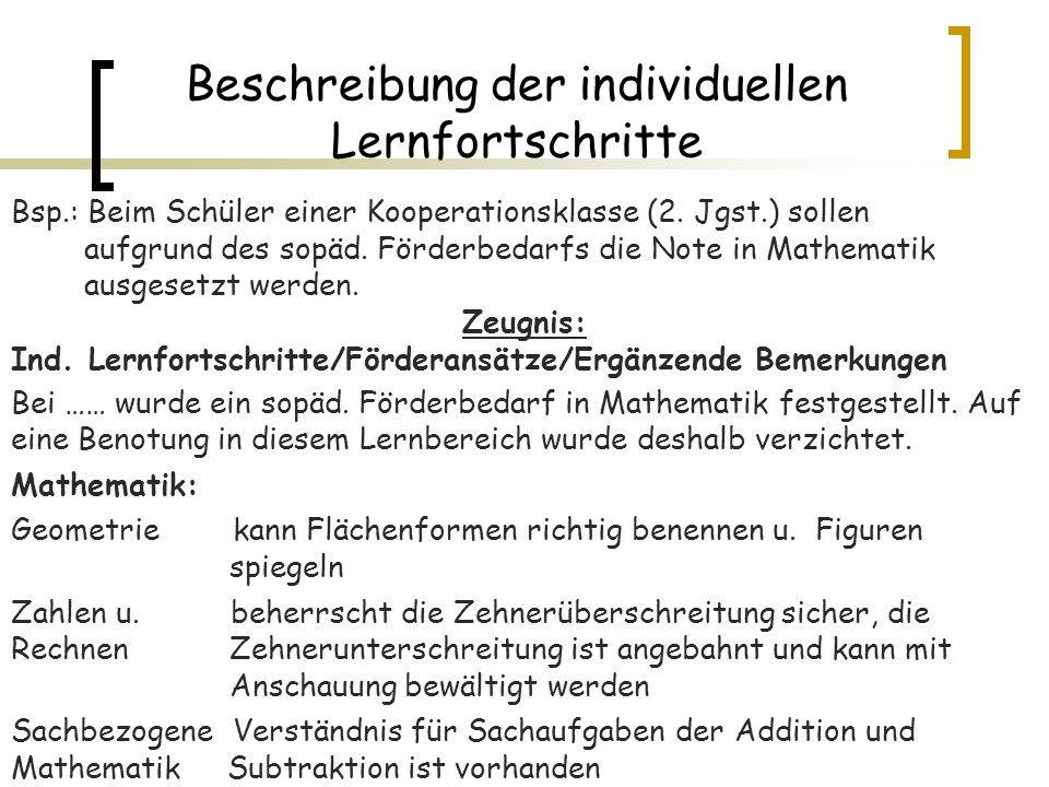 Beschreibung der individuellen Lernfortschritte Bsp.: Beim Schüler einer Kooperationsklasse (2. Jgst.) sollen aufgrund des sopäd. Förderbedarfs die No