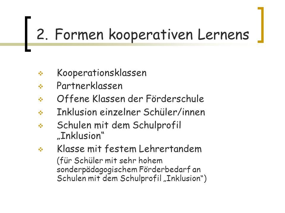 2. Formen kooperativen Lernens Kooperationsklassen Partnerklassen Offene Klassen der Förderschule Inklusion einzelner Schüler/innen Schulen mit dem Sc