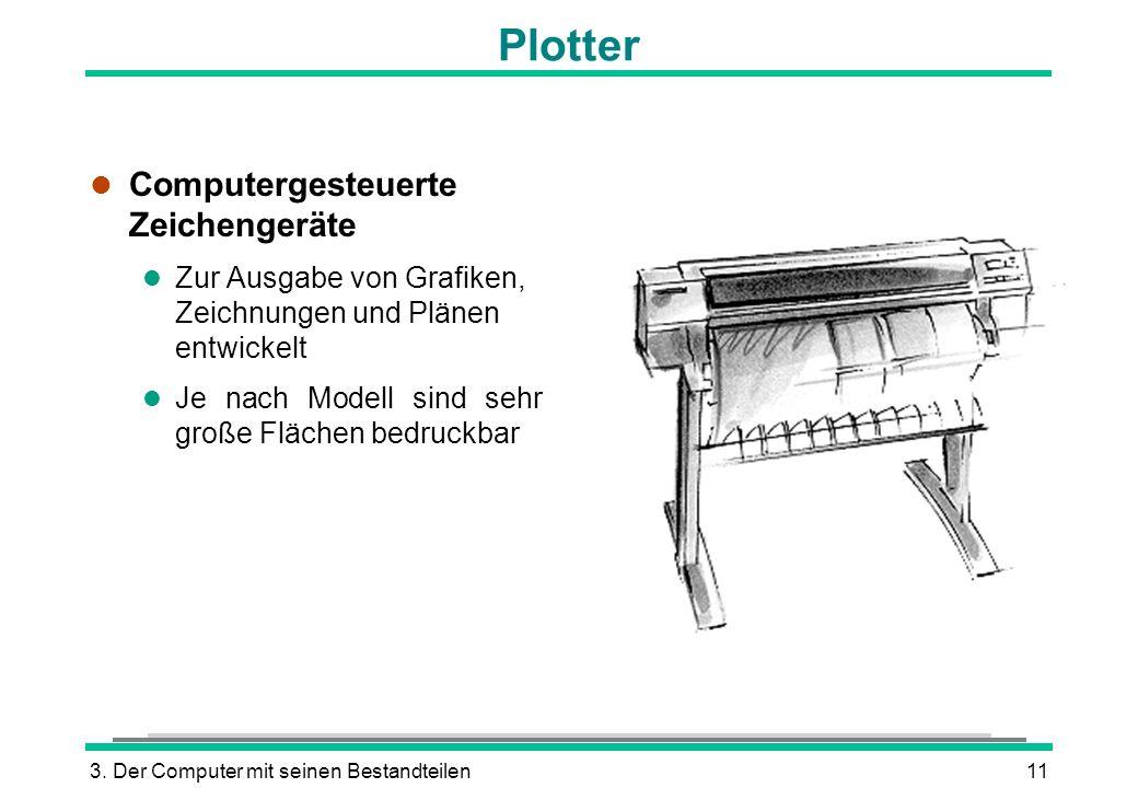 3. Der Computer mit seinen Bestandteilen11 Plotter l Computergesteuerte Zeichengeräte l Zur Ausgabe von Grafiken, Zeichnungen und Plänen entwickelt l