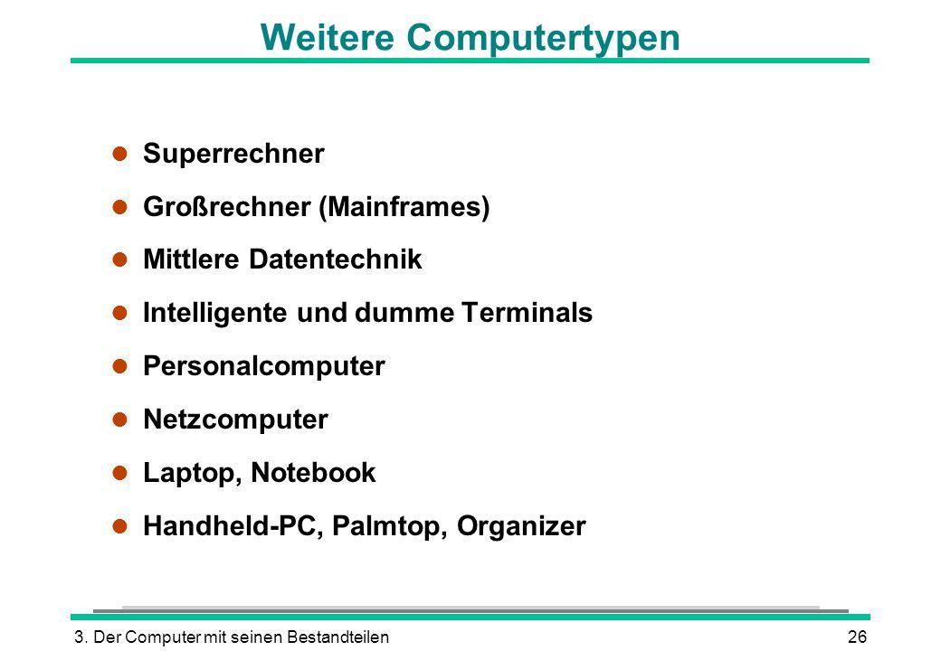 3. Der Computer mit seinen Bestandteilen26 Weitere Computertypen l Superrechner l Großrechner (Mainframes) l Mittlere Datentechnik l Intelligente und