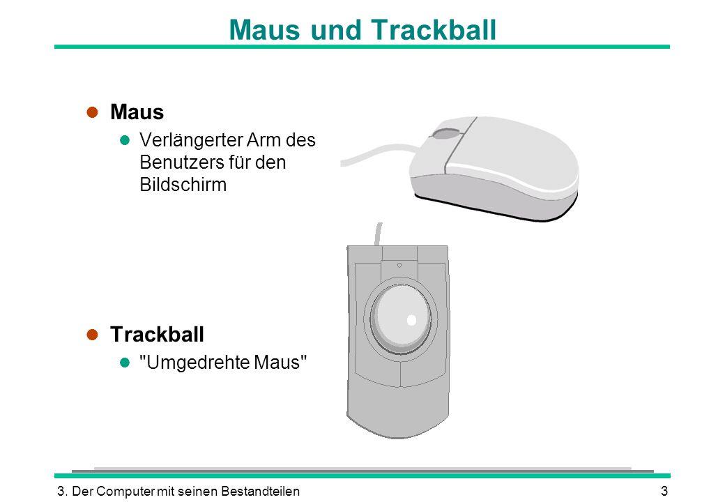 3. Der Computer mit seinen Bestandteilen3 Maus und Trackball l Maus l Verlängerter Arm des Benutzers für den Bildschirm l Trackball l