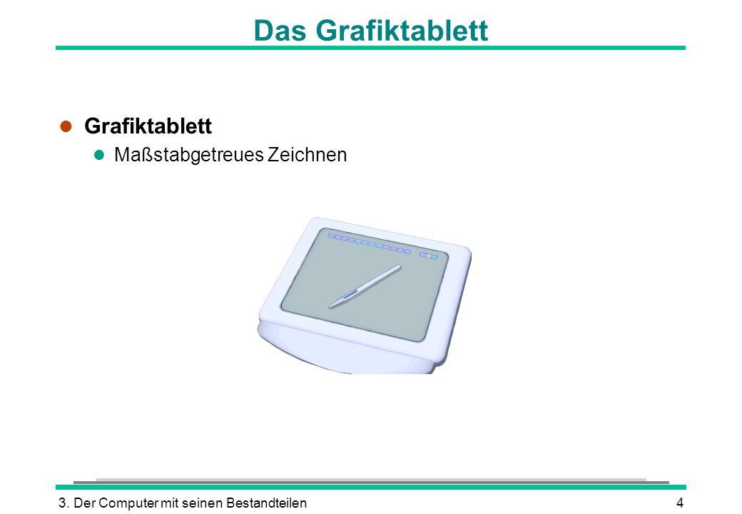 3. Der Computer mit seinen Bestandteilen4 Das Grafiktablett l Grafiktablett l Maßstabgetreues Zeichnen