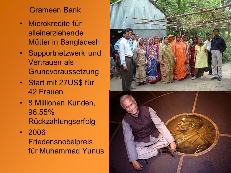 Grameen Bank Microkredite für alleinerziehende Mütter in Bangladesh Supportnetzwerk und Vertrauen als Grundvoraussetzung Start mit 27US$ für 42 Frauen 8 Millionen Kunden, 96.55% Rückzahlungserfolg 2006 Friedensnobelpreis für Muhammad Yunus