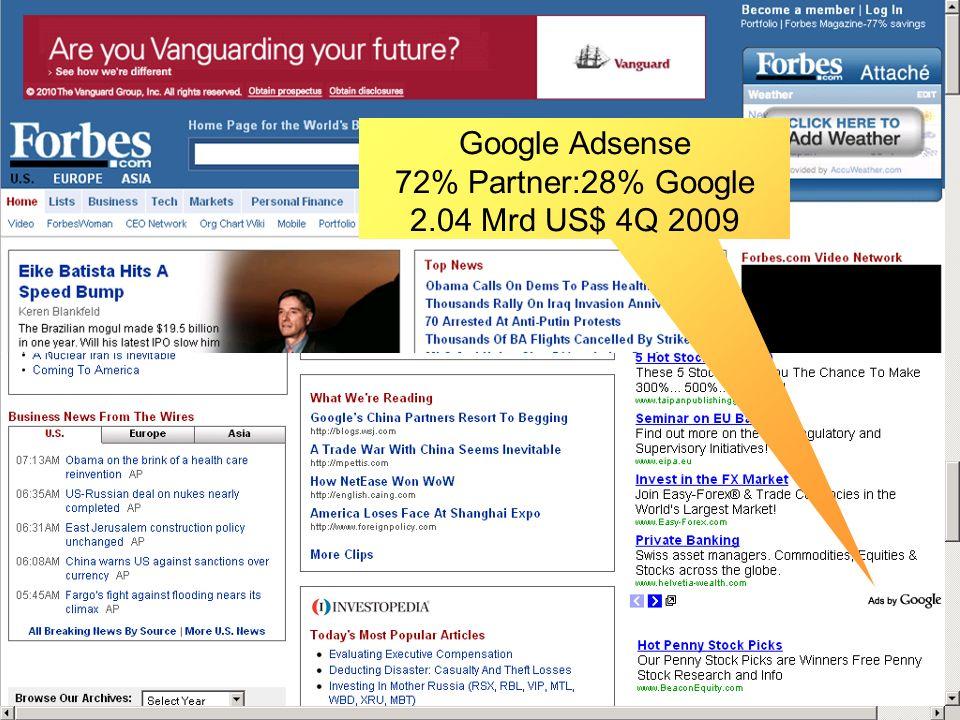 Adsense Google Adsense 72% Partner:28% Google 2.04 Mrd US$ 4Q 2009