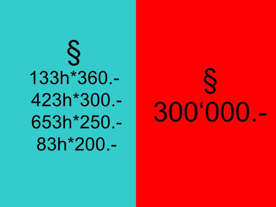 § 133h*360.- 423h*300.- 653h*250.- 83h*200.- § 300000.-