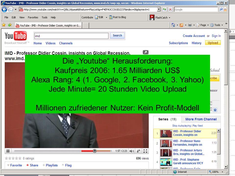 Die Youtube Herausforderung: Kaufpreis 2006: 1.65 Milliarden US$ Alexa Rang: 4 (1.