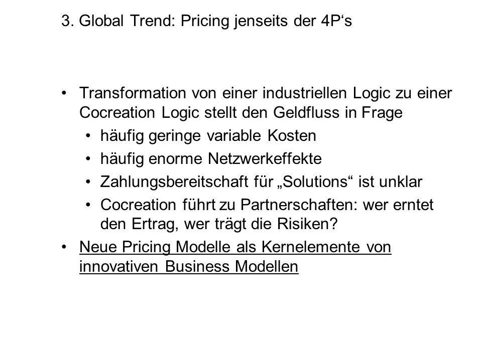 3. Global Trend: Pricing jenseits der 4Ps Transformation von einer industriellen Logic zu einer Cocreation Logic stellt den Geldfluss in Frage häufig