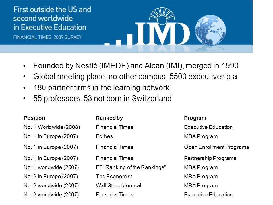 Founded by Nestlé (IMEDE) and Alcan (IMI), merged in 1990 Global meeting place, no other campus, 5500 executives p.a.