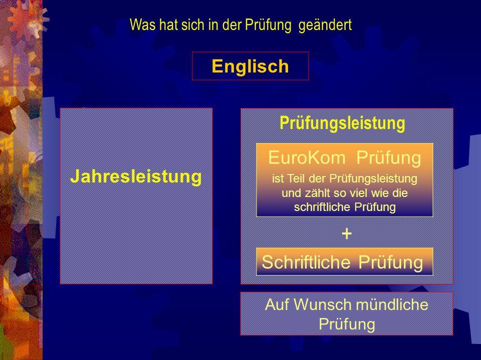 Was hat sich in der Prüfung geändert Englisch Jahresleistung Auf Wunsch mündliche Prüfung EuroKom Prüfung ist Teil der Prüfungsleistung und zählt so v