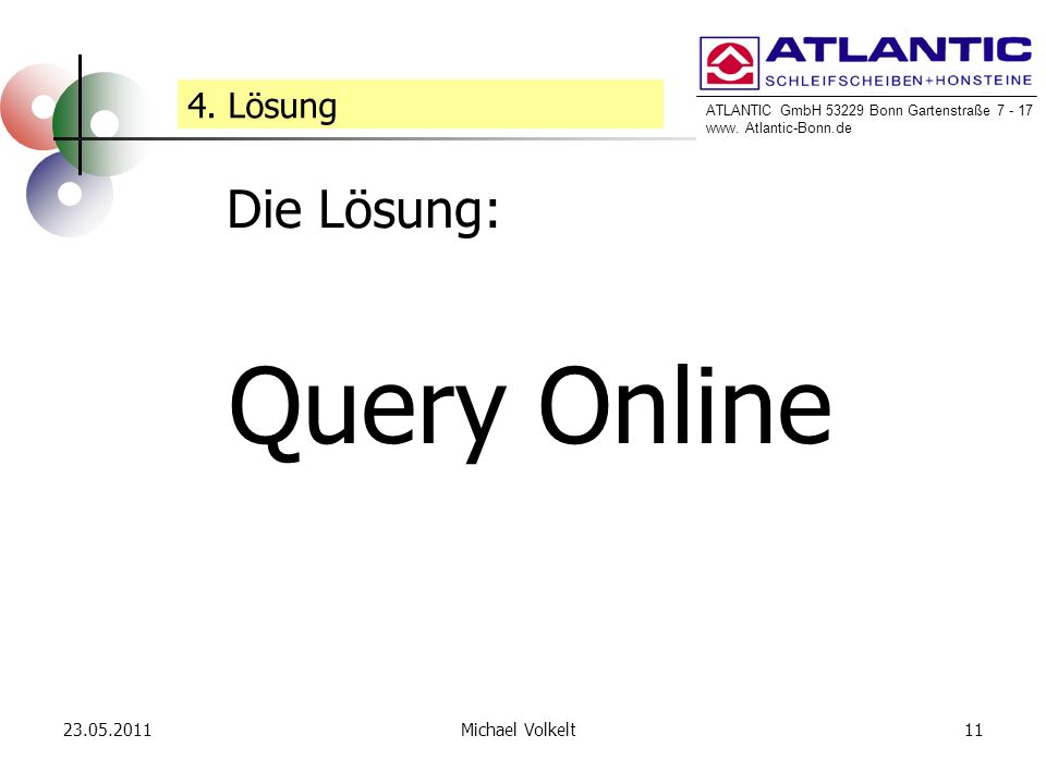 ATLANTIC GmbH 53229 Bonn Gartenstraße 7 - 17 www. Atlantic-Bonn.de 23.05.201111Michael Volkelt Query Online 4. Lösung Die Lösung:
