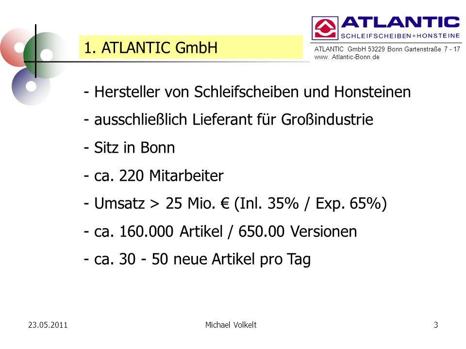 ATLANTIC GmbH 53229 Bonn Gartenstraße 7 - 17 www. Atlantic-Bonn.de 23.05.20113Michael Volkelt 1. ATLANTIC GmbH - Hersteller von Schleifscheiben und Ho