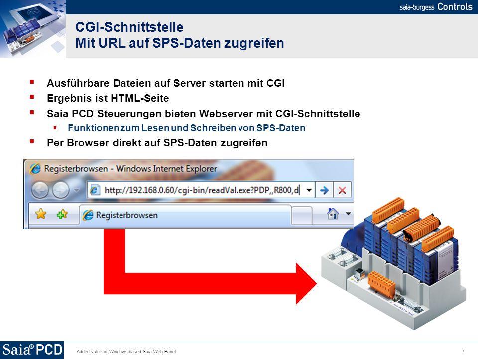 CGI-Schnittstelle Mit URL auf SPS-Daten zugreifen Ausführbare Dateien auf Server starten mit CGI Ergebnis ist HTML-Seite Saia PCD Steuerungen bieten W