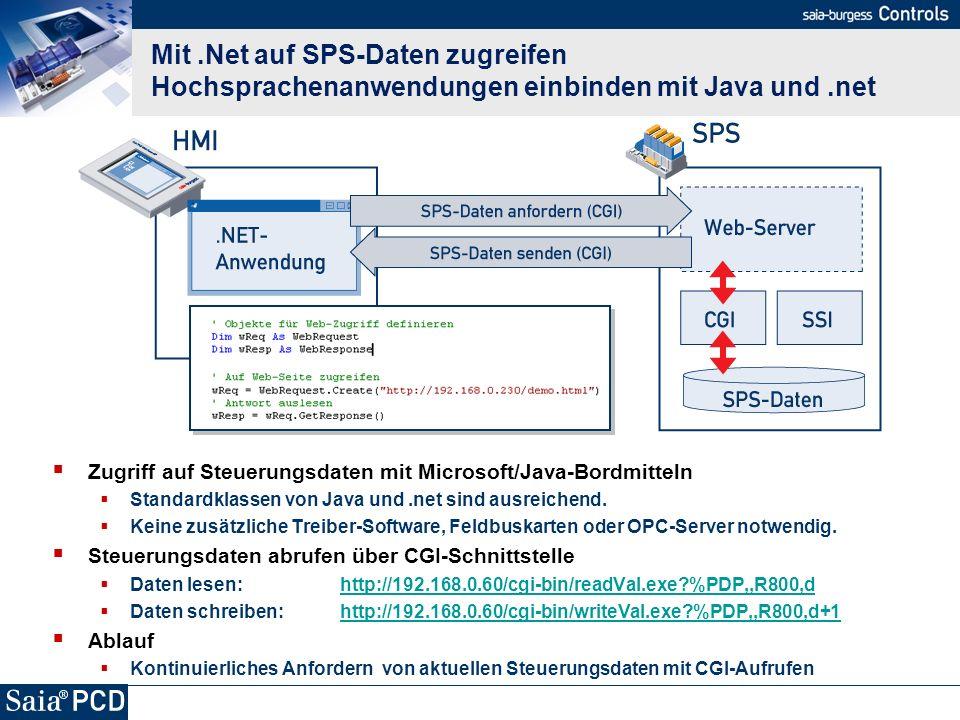 Mit.Net auf SPS-Daten zugreifen Hochsprachenanwendungen einbinden mit Java und.net Zugriff auf Steuerungsdaten mit Microsoft/Java-Bordmitteln Standard