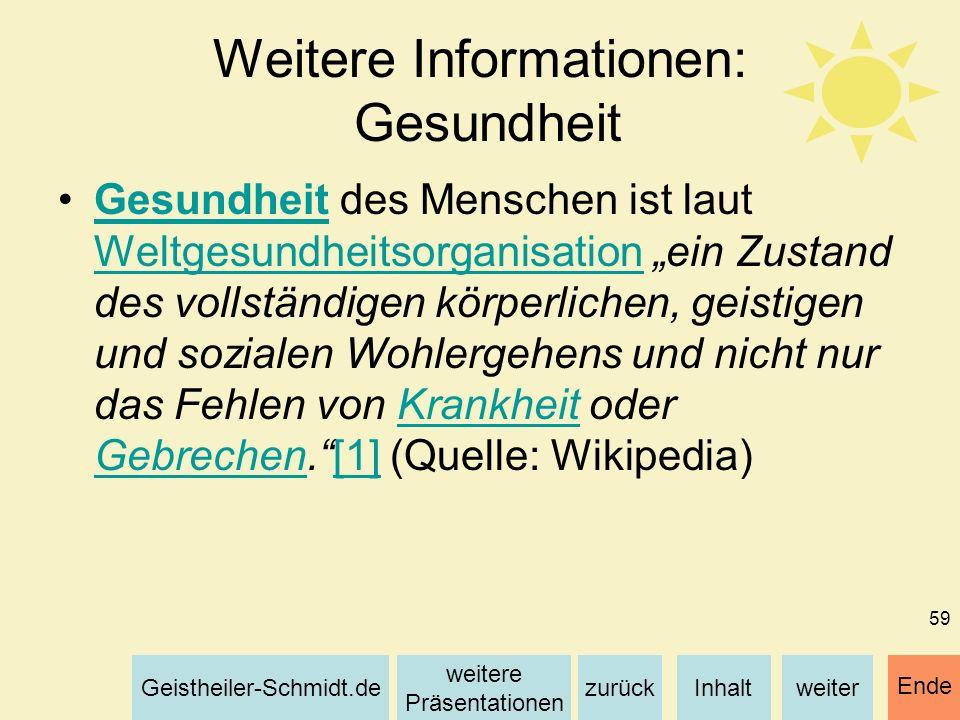 Inhaltweiterzurück weitere Präsentationen Geistheiler-Schmidt.de Ende 59 Weitere Informationen: Gesundheit Gesundheit des Menschen ist laut Weltgesund