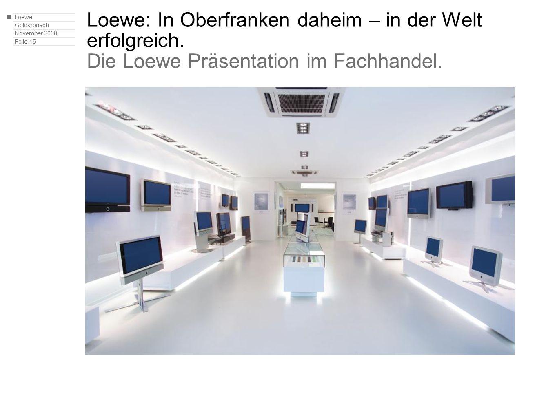 Loewe Goldkronach November 2008 Folie 15 Loewe: In Oberfranken daheim – in der Welt erfolgreich. Die Loewe Präsentation im Fachhandel.