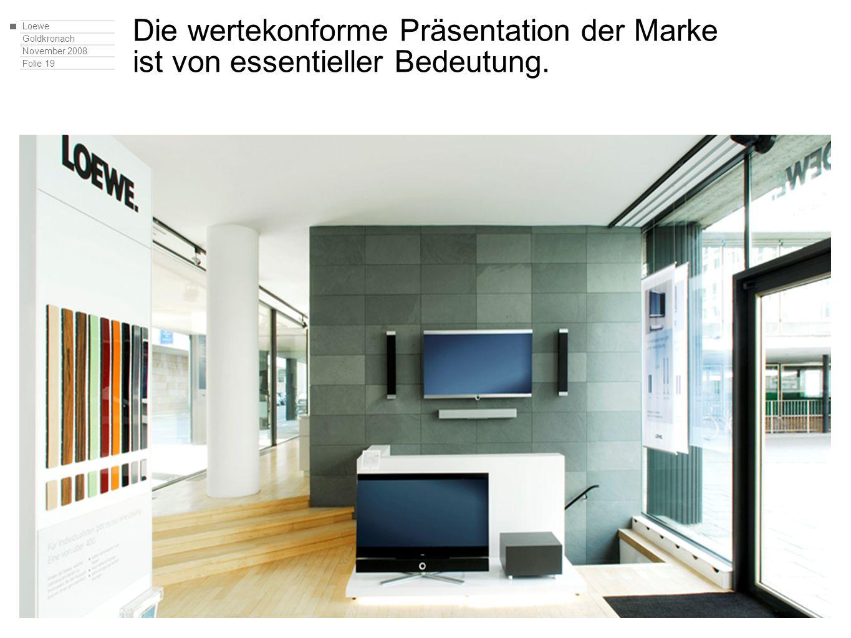 Loewe Goldkronach November 2008 Folie 19 Die wertekonforme Präsentation der Marke ist von essentieller Bedeutung.