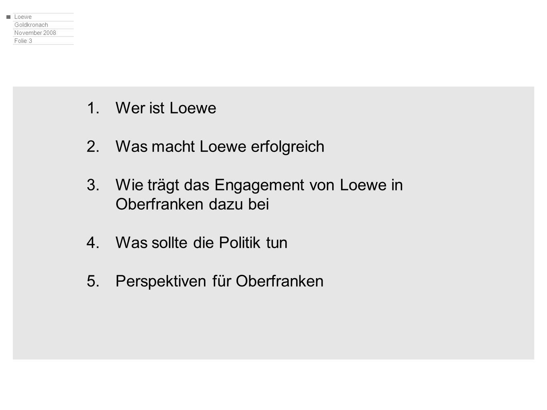 Loewe Goldkronach November 2008 Folie 4 1.Wer ist Loewe 2.Was macht Loewe erfolgreich 3.Wie trägt das Engagement von Loewe in Oberfranken dazu bei 4.Was sollte die Politik tun 5.Perspektiven für Oberfranken
