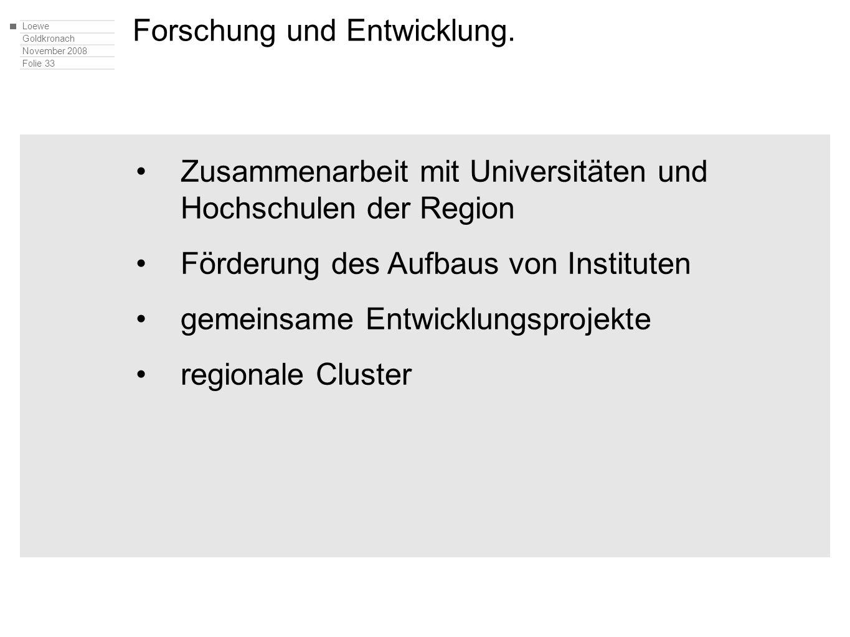 Loewe Goldkronach November 2008 Folie 33 Zusammenarbeit mit Universitäten und Hochschulen der Region Förderung des Aufbaus von Instituten gemeinsame Entwicklungsprojekte regionale Cluster Forschung und Entwicklung.