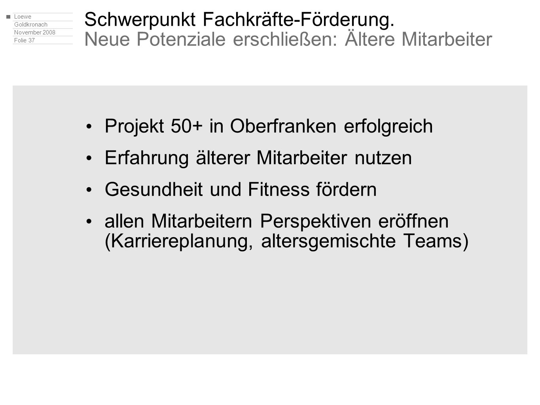 Loewe Goldkronach November 2008 Folie 37 Schwerpunkt Fachkräfte-Förderung. Neue Potenziale erschließen: Ältere Mitarbeiter Projekt 50+ in Oberfranken