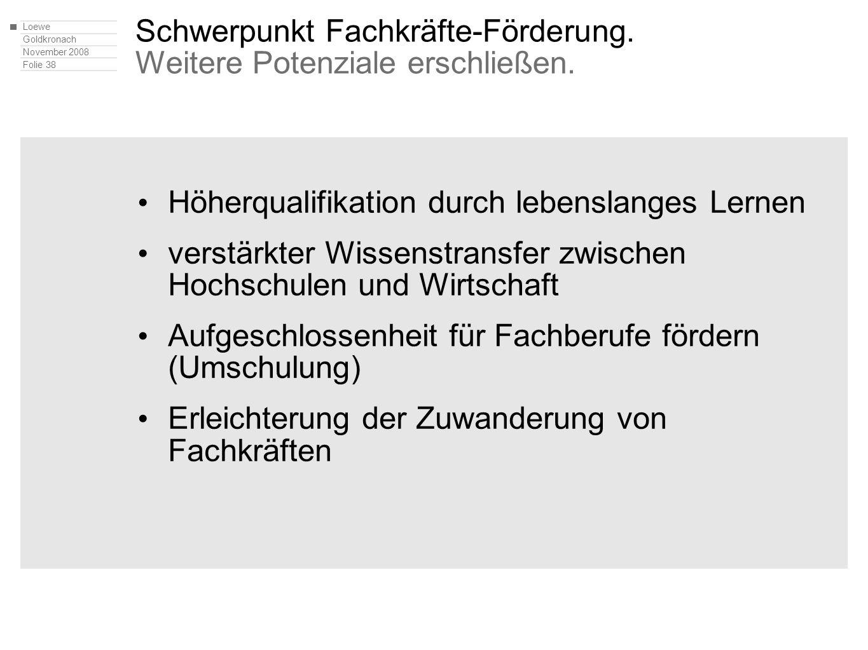 Loewe Goldkronach November 2008 Folie 38 Schwerpunkt Fachkräfte-Förderung. Weitere Potenziale erschließen. Höherqualifikation durch lebenslanges Lerne