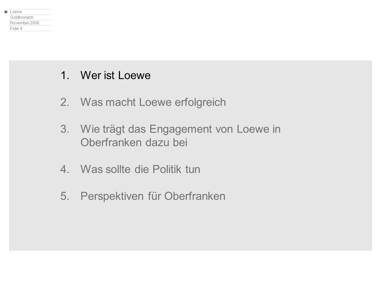 Loewe Goldkronach November 2008 Folie 4 1.Wer ist Loewe 2.Was macht Loewe erfolgreich 3.Wie trägt das Engagement von Loewe in Oberfranken dazu bei 4.W