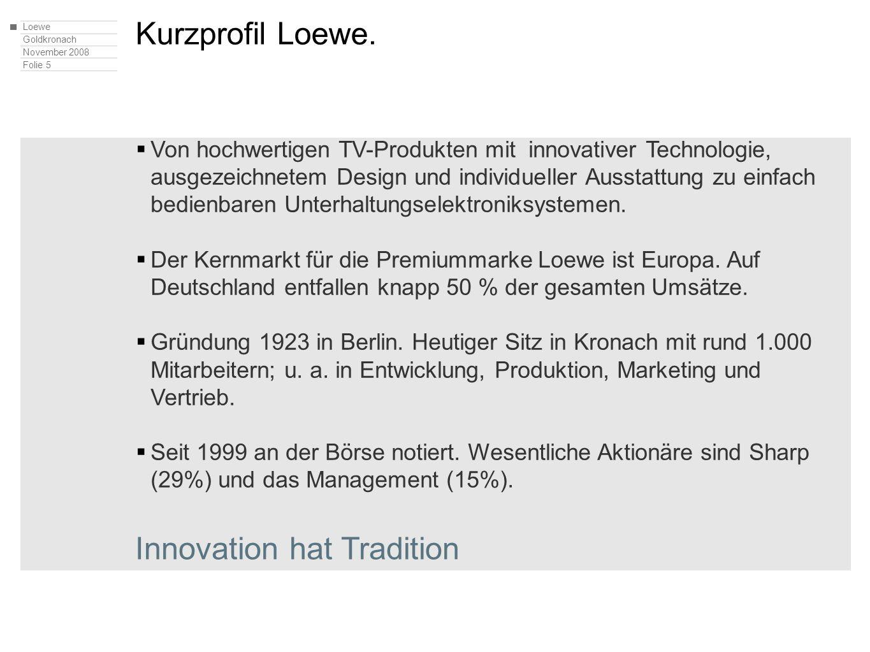 Loewe Goldkronach November 2008 Folie 5 Kurzprofil Loewe. Von hochwertigen TV-Produkten mit innovativer Technologie, ausgezeichnetem Design und indivi