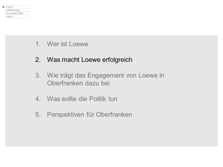 Loewe Goldkronach November 2008 Folie 9 1.Wer ist Loewe 2.Was macht Loewe erfolgreich 3.Wie trägt das Engagement von Loewe in Oberfranken dazu bei 4.W