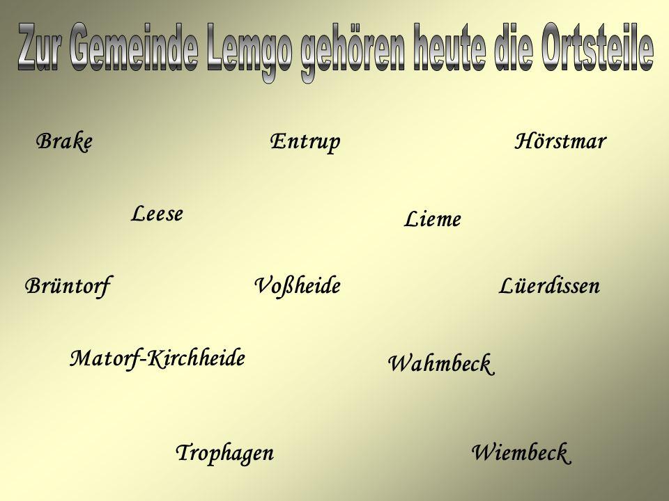HörstmarBrakeEntrup Leese Lieme Brüntorf Voßheide Lüerdissen Matorf-Kirchheide Wahmbeck TrophagenWiembeck
